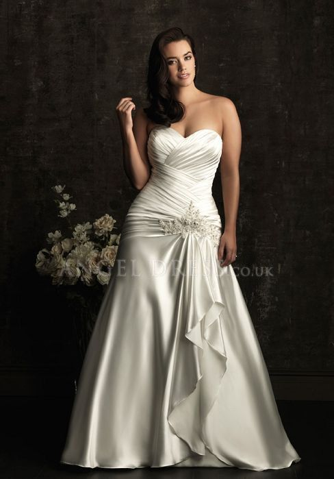 Fit N Flare Silk Like Satin Sweetheart Lace Up Sleeveless Floor Length Plus Size Wedding Gown