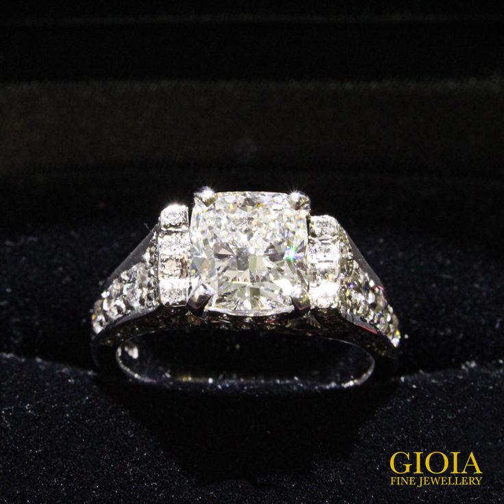 1.7ct Cushion Diamond in 18k White Gold with Brilliant-cut Diamond Pave Set.  Brought to Gioia for a brand new design and upgraded setting from 18k White Gold to Platinum.  Precious gemstones and diamonds last answered eternity. Instead of keeping them in the safe, isn't it more worthwhile to have them customised to original one-of-a-kind fine jewellery.  Every piece of jewellery has a story of its own.  www.gioia.com.sg