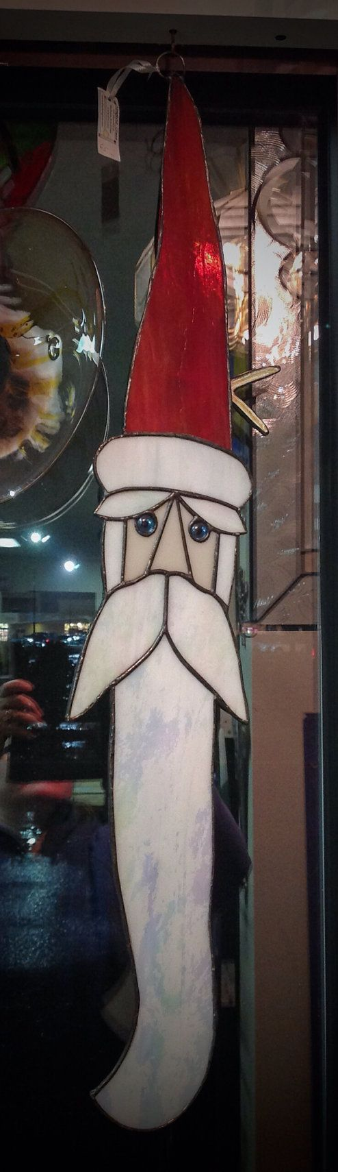 Drift Wood Santa In Stained Glass by AbsoluteGlass on Etsy
