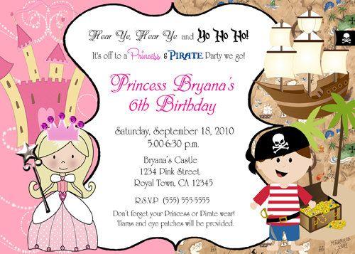 Pirate and Princess Birthday Party invitations. $14.99, via Etsy.
