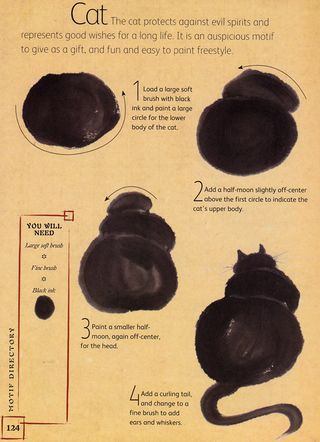 How to paint a black cat silhouette from the book The Chinese Brush Painting BibleBrushes Painting, Chubby Cat, Black Cats, Painting Bible, Painting Cat, Cat Silhouettes, Sumi, Black Cat Art Lessons