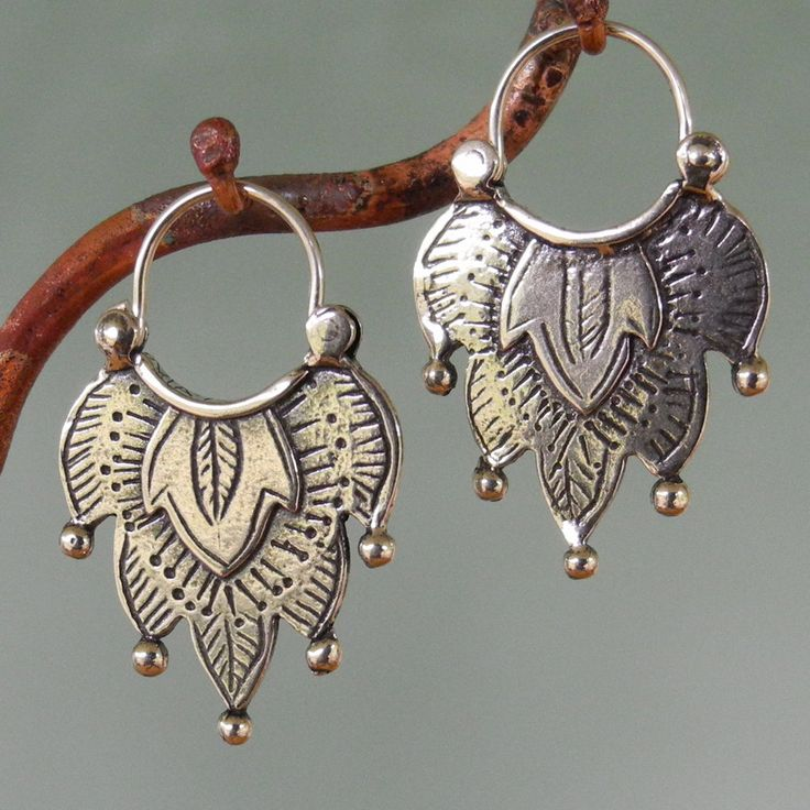 Alhambra Earrings -number 1 -  tribal style - sterling silver - hoop. $52.00, via Etsy.