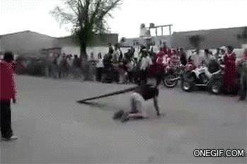 """The volunteer who turned himself into a motorcycle ramp. 