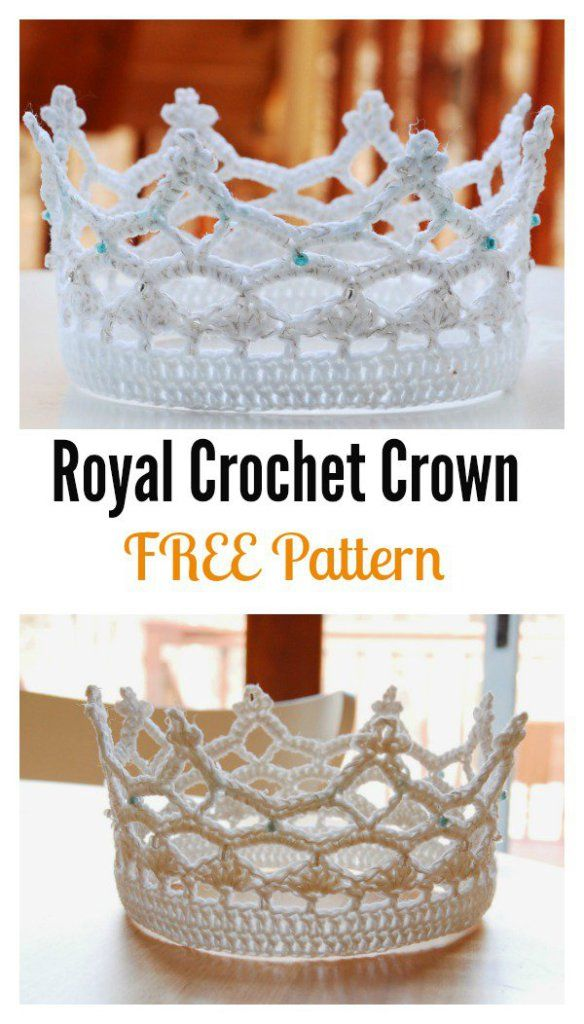 Pretty beaded crochet crown for a princess or even a bride. Free crochet pattern.