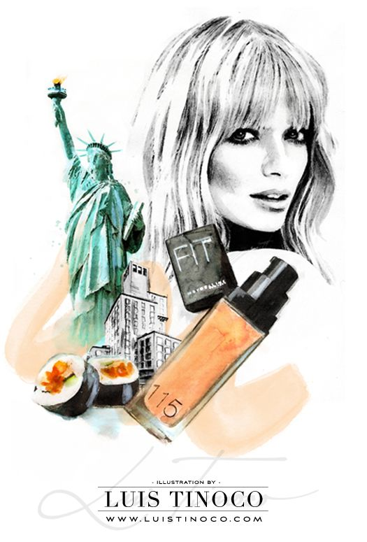 "MAYBELLINE NYC GUIDE 2014 ""BCKSTG"" Julia Stegner Portrait ILLUSTRATION by LUIS TINOCO http://www.luistinoco.com/"