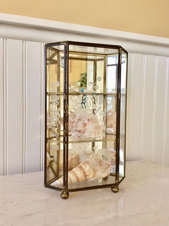 this is a beautiful free standing glass brass footed display rh pinterest com