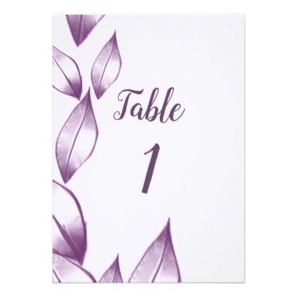Purple Leafs Wedding Table Card Wedding Invitations Cards Custom