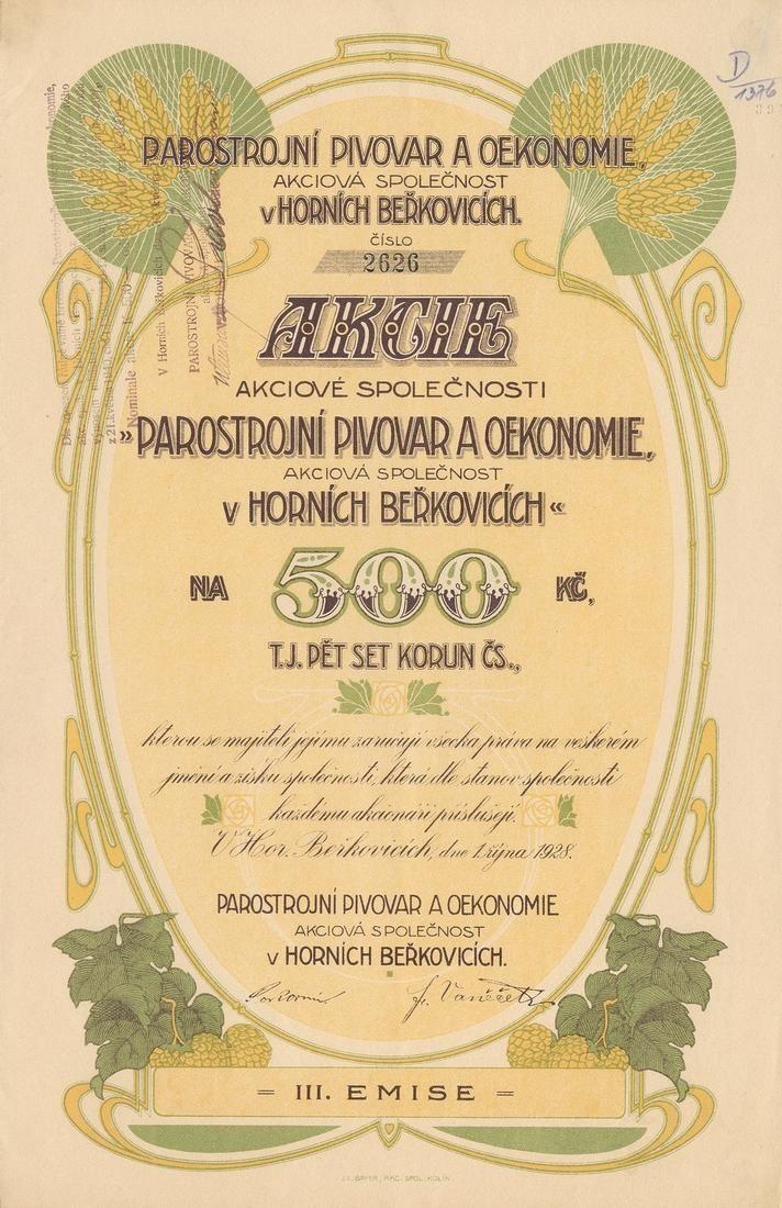 Parostrojní pivovar a oekonomie akc. spol. v Horních Beřkovicích (Dampfbrauerei und Oekonomie AG in Ober- Berkovitz). Akcie na 500 Kč. Horní Beřkovice, 1928.