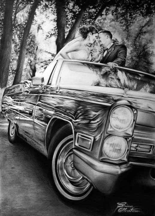 Cadillac Wedding - Desen în Creion de Corina Olosutean // Cadillac Wedding - Pencil Drawing by Corina Olosutean
