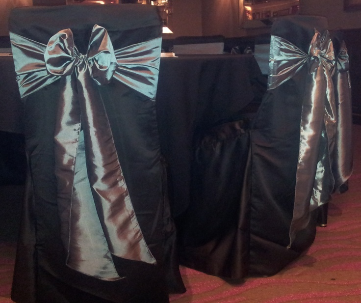 Black Chair Covers with Silver Satin Bows