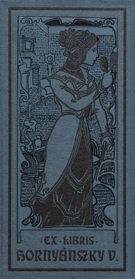 Bookplate by Sándor Nagy for  Hornyánszky Viktor, 1907c.