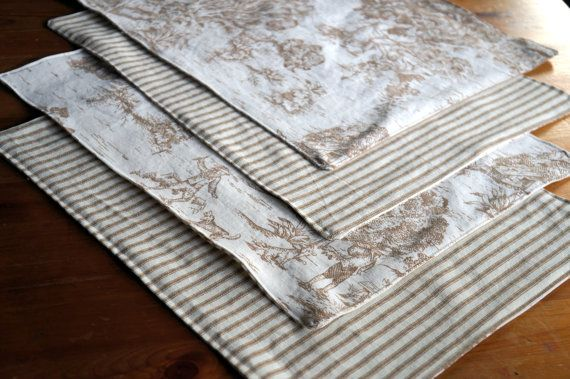 French Pastoral Toile Placemat Set of 4 - Brown Toile and Ticking Stripe - Victorian Placemats - Placemat Set