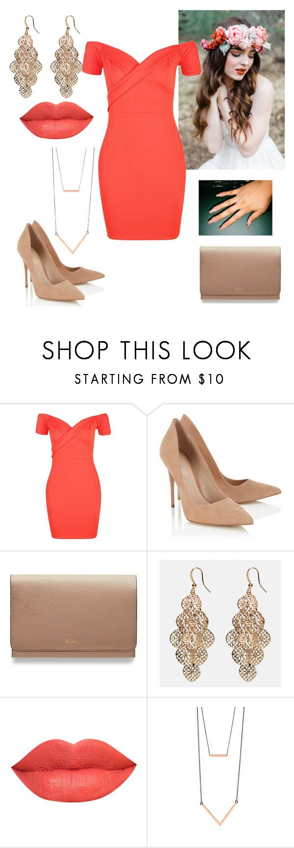 """""""coral outfit"""" by paoladouka on Polyvore featuring Boohoo, Lipsy, Mulberry, Avenue and BERRICLE"""