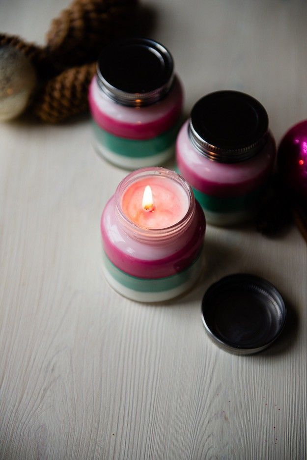 Layered-Scent Candles   17 DIY Winter Decorations Projects