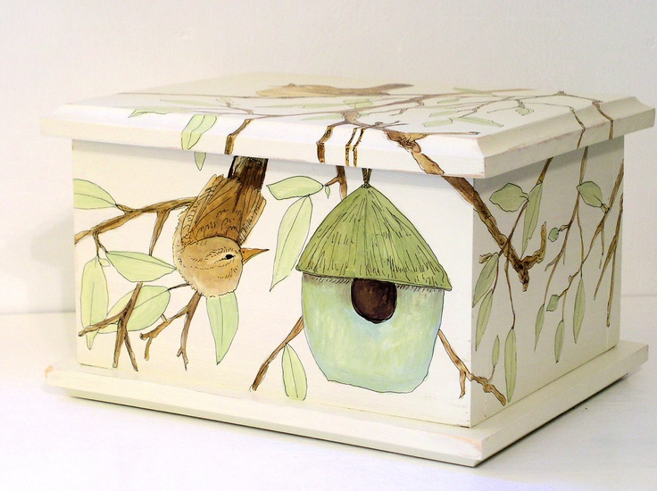 Painted Furniture Cottage Wooden Storage Box Birdhouse Birds.