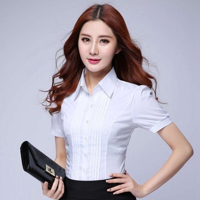 5833a4cb1de Fashion Formal Shirt Women Clothes 2018 New Slim Long Sleeve White Blouse  Elegant OL Office Ladies Work Wear Plus Size Tops