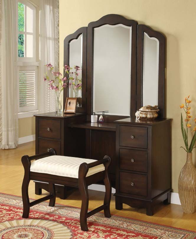 Annapolis Cherry Wood Makeup Vanity Desk Set With Bench Chair Mirror By  Metro Furniture