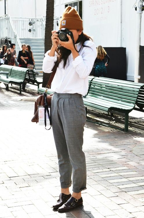 beanie, button down shirt, grey trousers & monk strap shoes #style #fashion #streetstyle