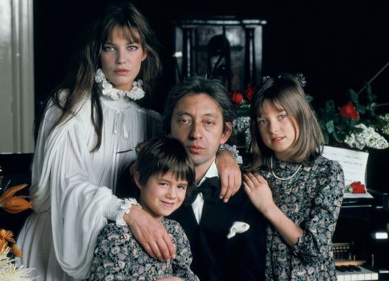 Jane Birkin and Serge Gainsbourg with Charlotte and Kate (right). Rest in peace Kate.