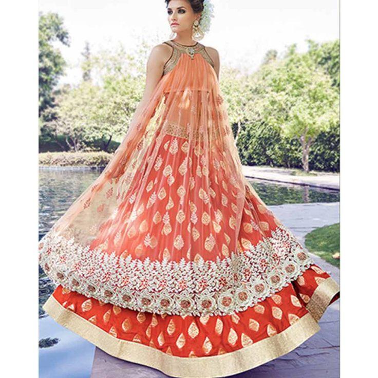 Orange Embroidered Anarkali Suit