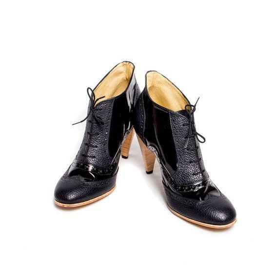 Oxford brogue black on black high heels | 320.00 from goodbyefolk