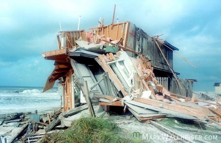 What's left of a waterfront hom on Gulf Drive in Panama City Beach, Florida after Hurricane Opal impacted the Florida panhandle as a category three storm when it came ashore near Pensacola, Florida October 5, 1995.  It was the strongest hurricane of the 1995 season and killed 63 people, 13 in the United States.  Hurricane Opal's name was retired the following year.