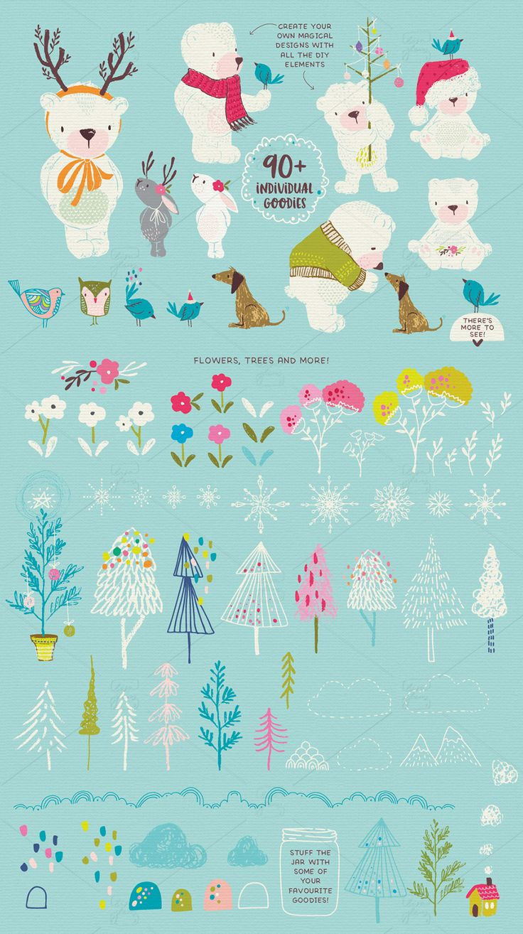 This whimsical winter graphic set is filled with quirky illustrations and items ready for you to sprinkle a little magic into your projects. #bear #christmas #clipart #whimsical #magical