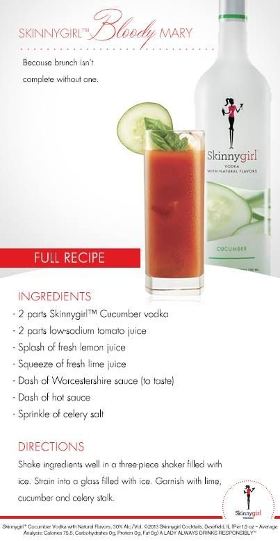 Oh my god skinny girl Bloodys!! Such a good ideaaa, I could drink 10 of them