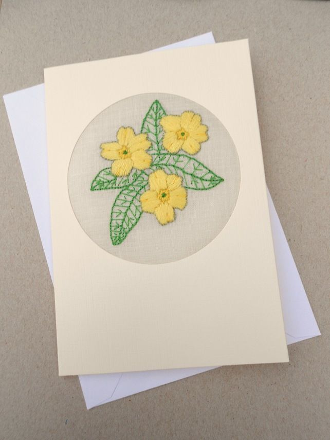Embroidered Primrose Card for February Birthday. Valentines Day! £4.00