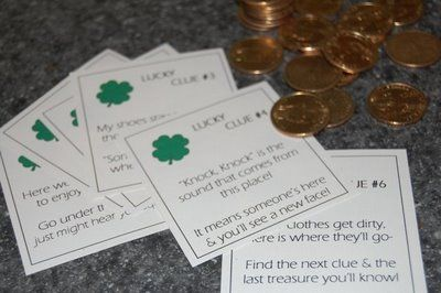St. Patrick's Day treasure hunt with $1 gold coins (really the local bank has these???).  Clues are provided and end result is a lesson that the Leprechan was kind enough to share his gold we should share ours and usse the money to buy something to donate to a charity, items to bake cookies for a neighbor, etc.  Cute!