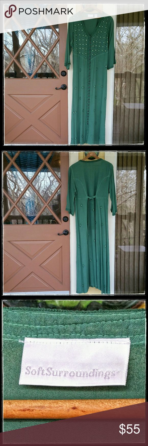Coldwater Creek- lovely green maxi dress Lovely, comfortable, full length dress from Coldwater Creek with accent trim, stitching and antique silver sequins. Button up front with ties in the back. Perfect condition. Size: Medium Petite. 100% Rayon. Hand wash. Coldwater Creek Dresses Maxi