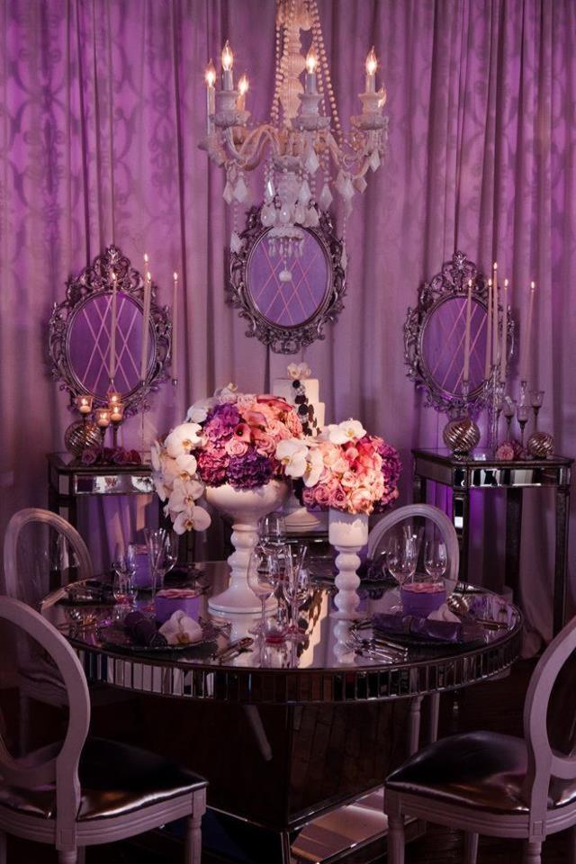black white purple wedding reception%0A Purple love