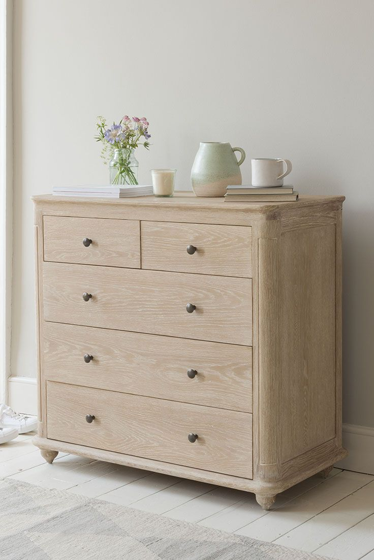 ÉLODIE CHEST OF DRAWERS £675 Chest of drawers, wood, wooden, wooden bedroom furniture, clothes storage, storage, wooden chest of drawers, grey chest drawers, blue, grey, bed, bedroom furniture, wooden furniture, wood furniture, wooden chest of drawers, draw, space saving, store clothes, clothing, traditional chest of drawers, contemporary, vintage, paint, painted furniture, table lamp, white dining chair, neutral shades, Loaf, Loaf home, Loaf.com