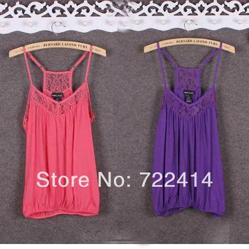 New 2014 summer Brand lace patchwork cotton vest women basic shirt cutout slim spaghetti strap lace vest 2 color plus size