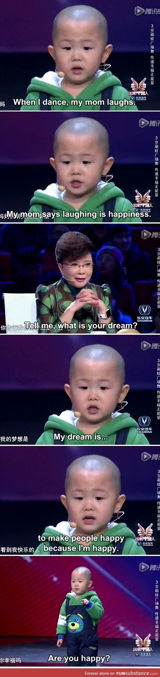 I've seen the video this is from. It's an adorable two year old boy on a Chinese talent show and he's the sweetest kid you'll ever see!