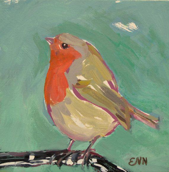 Original oil bird painting / Robin / bird by NielsenDenmark