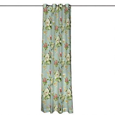 Vorhang mit Ösen - Blumen groß Hellblau 63