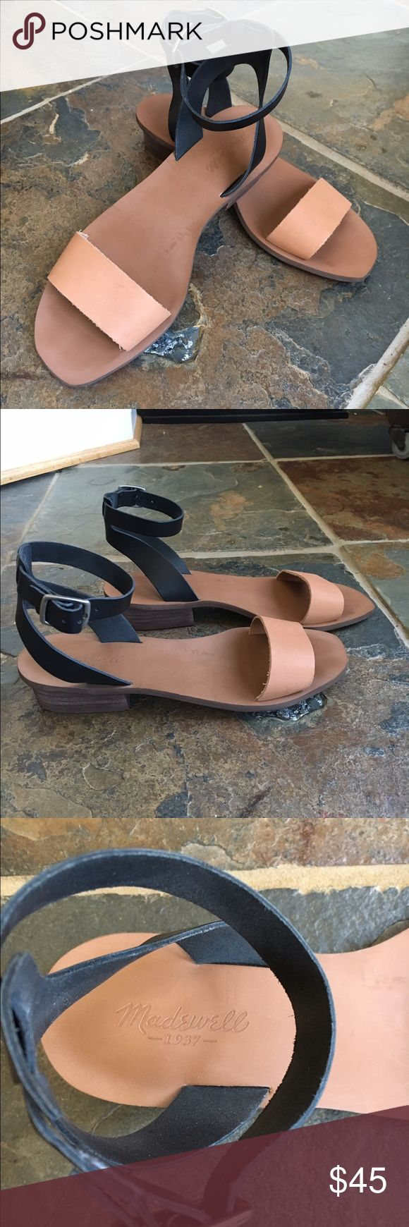 Madewell 2 time low heel ankle wrap sandals Two tone, ankle strap (buckle), low heeled sandals, worn 2 times, excellent condition. Madewell Shoes Sandals