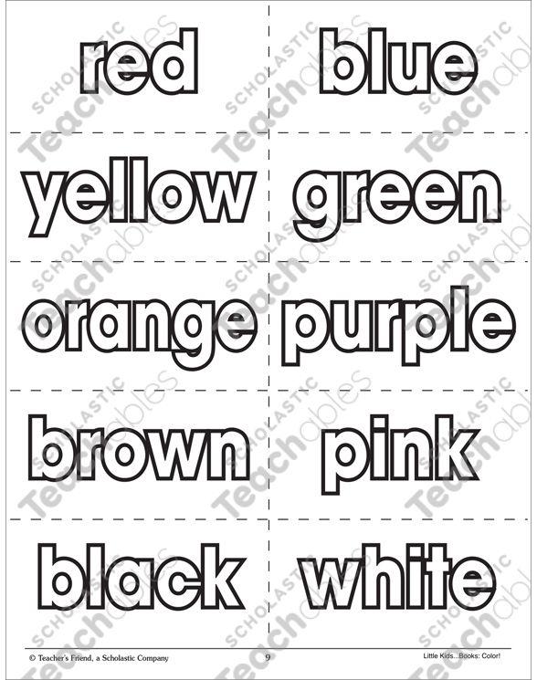 Color Words Flash Cards Printable Flash Cards And Coloring Pages Printable Flash Cards Flashcards Color Words Kindergarten