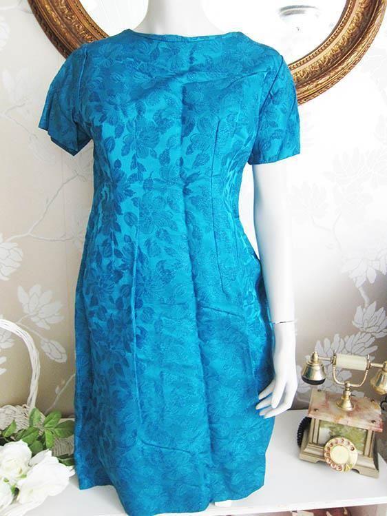 VINTAGE fraktfritt klänning blå/havsgrön/blommig 60-tal retro bröllop fest M, på tradera.com