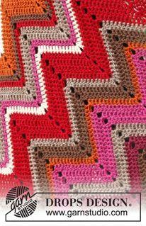 """Gehäkelte DROPS Decke in """"Karisma"""" mit Zickzack-Muster. ~ DROPS Design"""