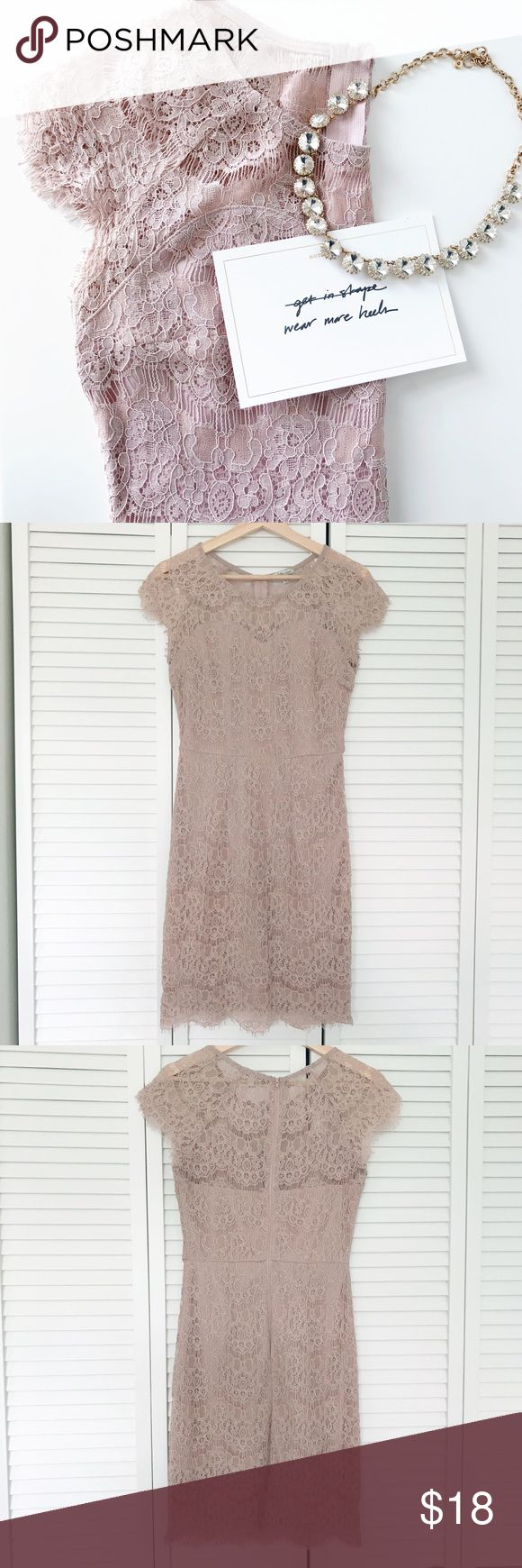 """Blush Lace Dress EUC blush lace dress from Charlotte Russe. It has been worn once for an event. The tag shows some stain from rubbing on a hanger. No other flaws noted. The dress is an x-small and is lined. There is a zipper on the back. Length is 35"""". Charlotte Russe Dresses Mini"""