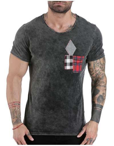 ΝΕΕΣ ΑΦΙΞΕΙΣ :: T-shirt Plaid Pocket Athracite - OEM
