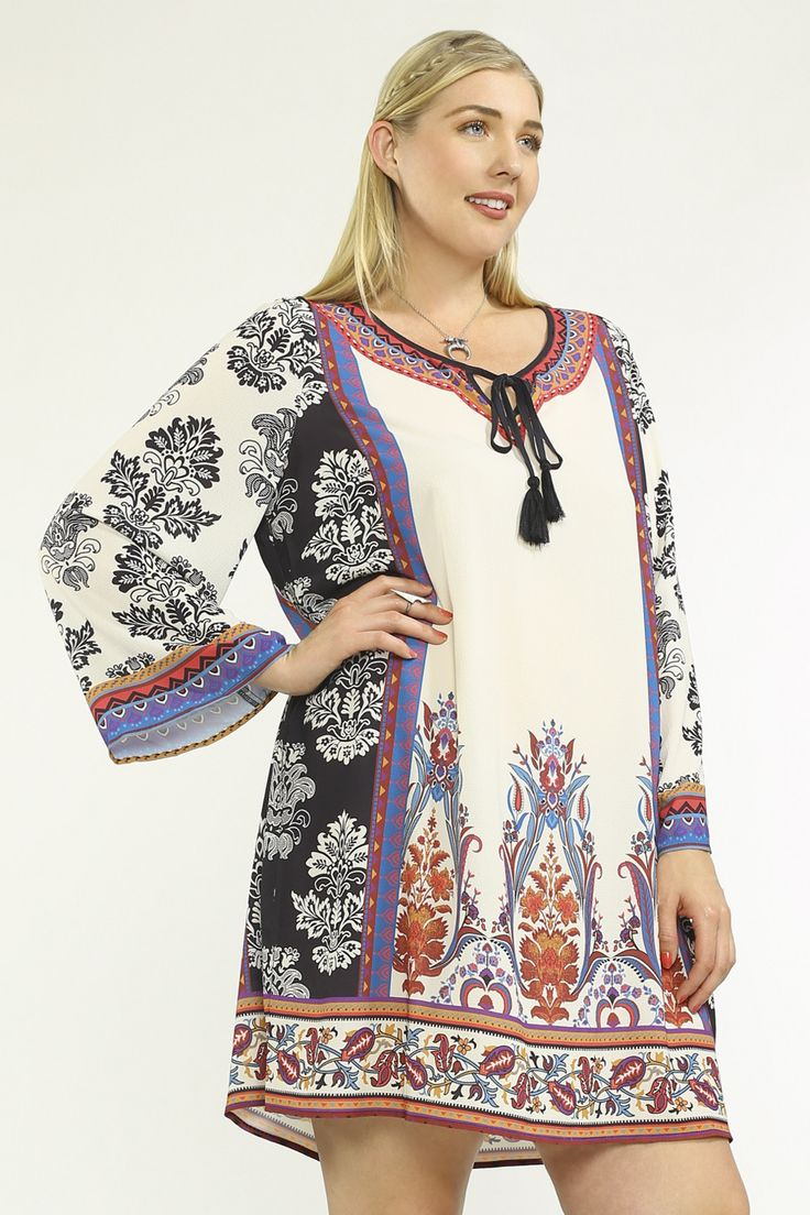 Description - Plus Size printed tunic dress - 100% Polyester - Fabric has no stretch - Partially lined - Imported Product Measurement Please note that the following chart is a guideline. Depending on