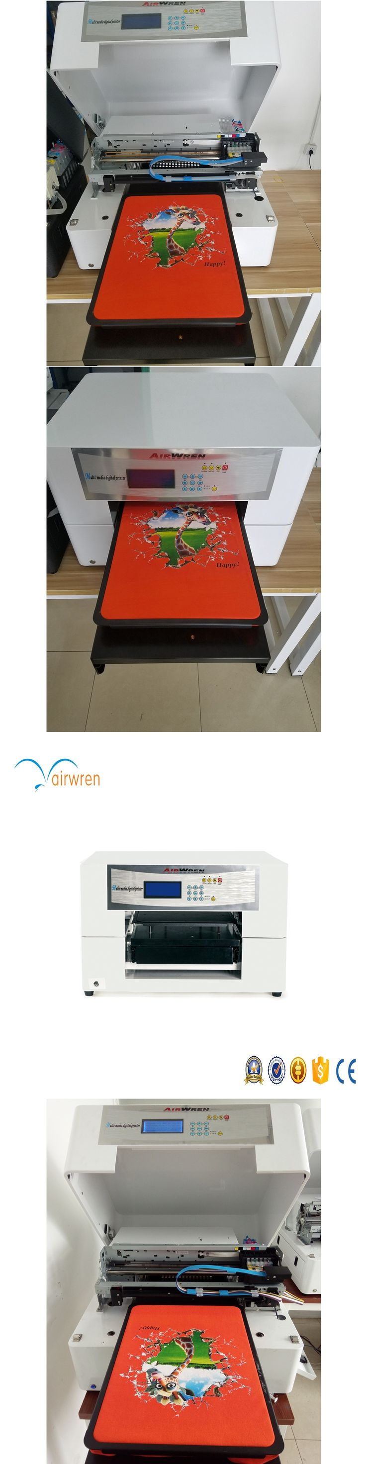 Multifunction A3 size T shirt printer DTG any color  garment printing machine