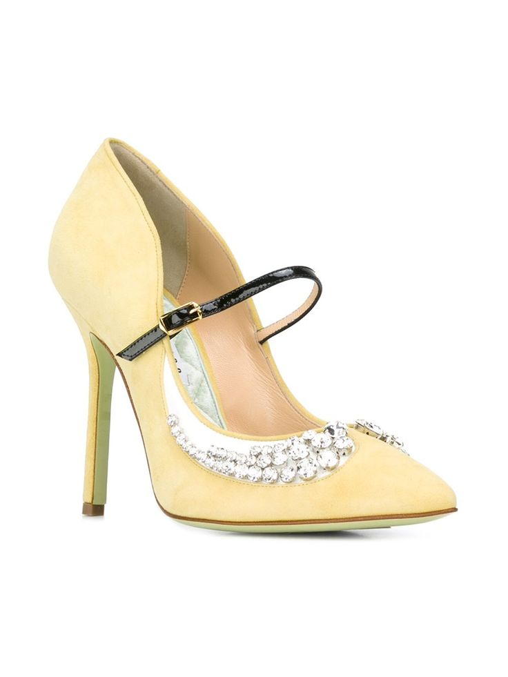 Giannico Embellished Margot Pumps in Light Yellow.