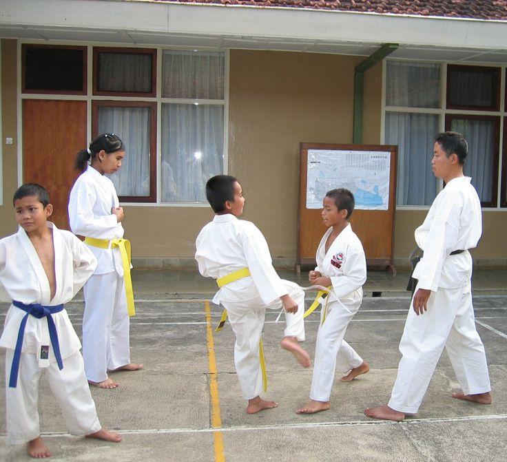 Children in Lembang practicing karate