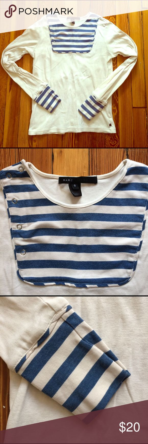 Marc Jacobs blue and cream L/S nautical tee, sz S Lovely nautical-style long-sleeved tshirt by Marc Jacobs. Worn, but has tons of life left! Colors are navy and cream. 5 snaps on top (see second photo). Price firm! Marc Jacobs Tops Tees - Long Sleeve