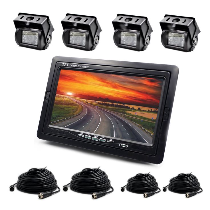 Backup Camera Wired 7Inch LCD Monitor and 4xWaterproof Reverse Camera System for Truck/Van/Caravan/Trailers/Campers ZEROXCLUB S0024