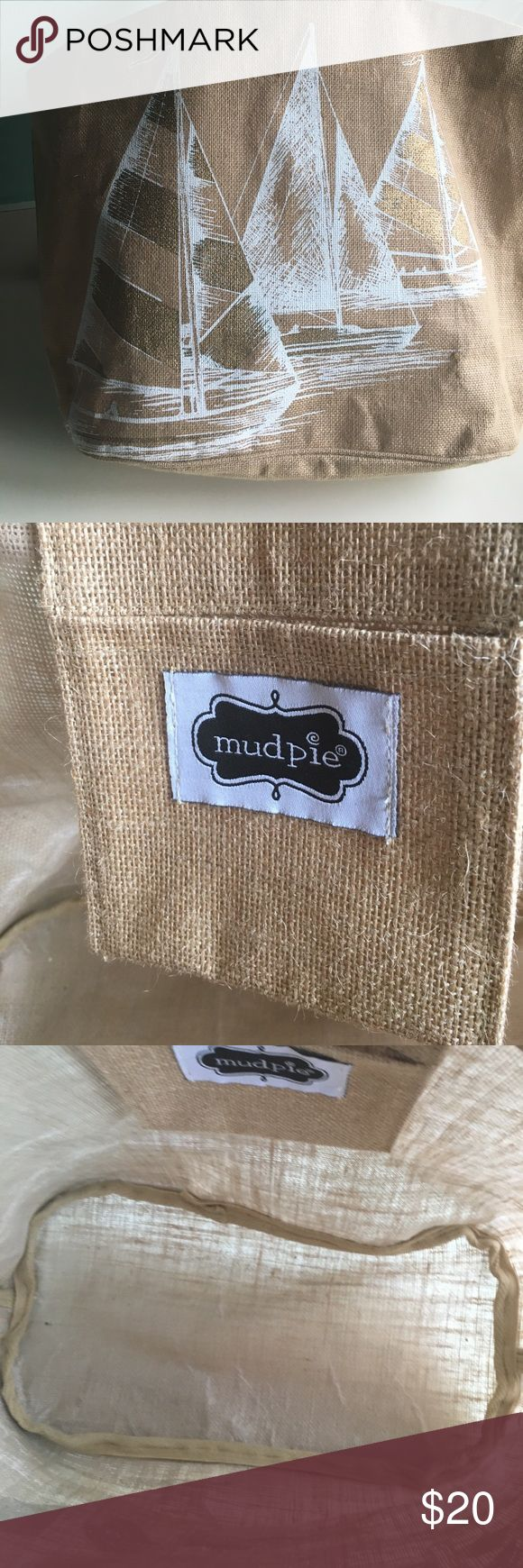 "Mudpie burlap large beach bag with leather straps Mudpie burlap large beach tote 24"" x 16"" handles are 20 inches.    Brand new condition! Mud Pie Bags Totes"